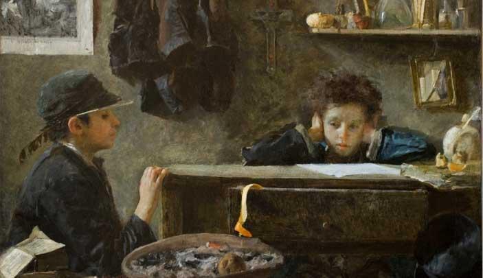 Antonio Mancini, Acque Basse, 1874 Olio su tela, 80 X 130 cm
