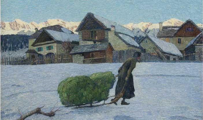 Carlo Fornara, Ultimi raggi - olio su tela 70 x 100 cm - Mostra Anima bianca. La neve da De Nittis a Morbelli