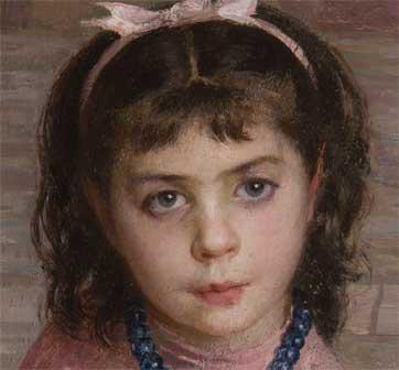 Emilio Longoni, La piscinina, olio su tela, 126 x 71 cm (particolare) - Mostra Brera 1891