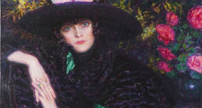 Enrico Lionne: L'attesa, 1919 olio su tela, 114 x 79 cm Novara, Galleria d'Arte Moderna Giannoni - Mostra Liberty in Italia