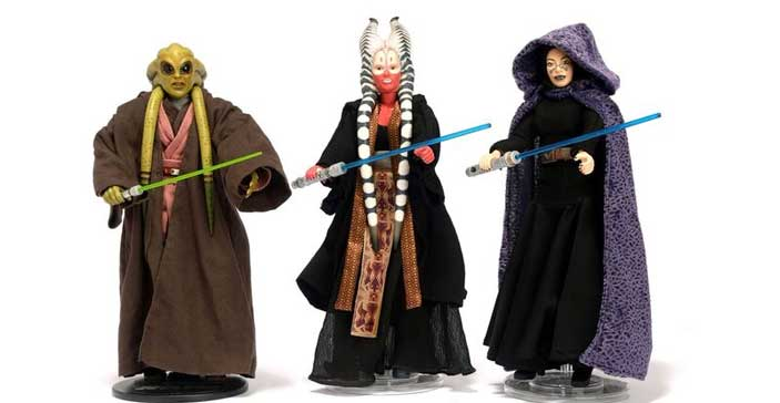 "Kit Fisto, Sideshow, 2006, Shaak Ti, 2005, Barriss Offee, 12"" Doll, 2005 - Mostra Guerre Stellari"