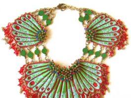 Sveva Collection Collezione Scorfanea 2016, collana metallo, ricami, pietre semipreziose - Mostra Gioielli alla Moda