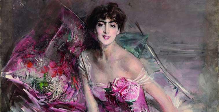 Giovanni Boldini: La signora in rosa, 1916 Olio su tela, cm 163 x 113 Ferrara, Gallerie d'Arte Moderna e Contemporanea, Museo Giovanni Boldini (particolare)
