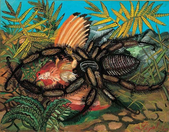 © Antonio Ligabue, Vedova nera con volatile, s.d. (1955-1956), Olio su tavola di faesite, 53x68,5 cm, Collezione privata