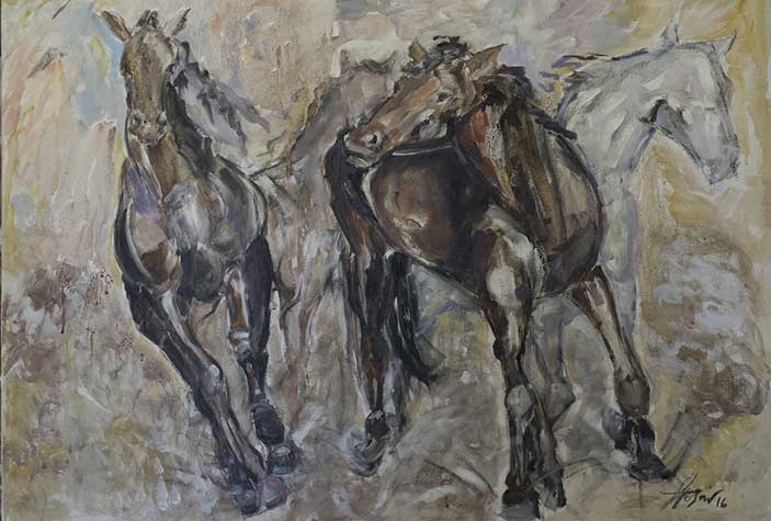 Elisabetta Rogai, Quattro Caratteri diversi (Cavalli), Enoarte ©, vino e olio su tela, cm 100 × 70,  2016