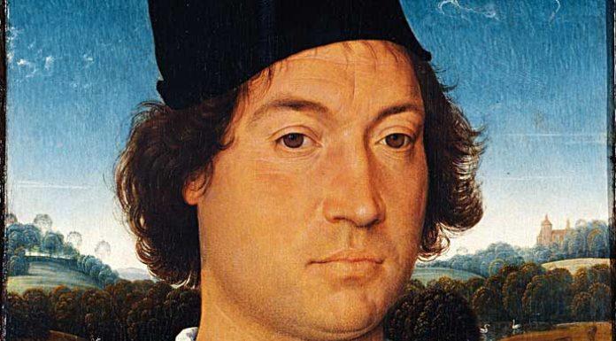 Hans Memling (Seligenstadt 1430/1440 – Bruges 1494), Ritratto di uomo con lettera, 1475 circa, olio su tavola; cm 35 × 26, Firenze, Gallerie degli Uffizi, Galleria delle Statue e delle Pitture