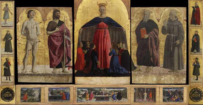 Piero della Francesca, (Sansepolcro, circa 1412 - 1492), Madonna della Misericordia, circa 1445-1455, scomparto centrale del polittico omonimo, tavola, 168 × 91 cm, Sansepolcro, Museo Civico