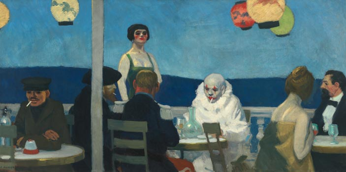 Edward Hopper, Soir Bleu (Sera blu), 1914, Olio su tela, 91,8x182,7 cm, New York, Whitney Museum of American Art - Lascito di Josephine N. Hopper © Heirs of Josephine N. Hopper, licensed by Whitney Museum, N.Y.