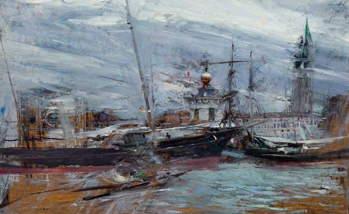 Giovanni Boldini, Venezia, Punta della Dogana - Pittura veneta