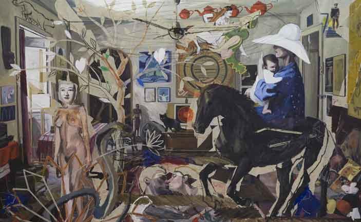 Luca Padroni, A casa di Mumma olio e collage su tela 250x400cm 2016