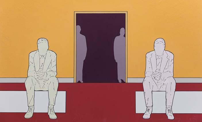 Renato Mambor: Pensatori fuori casa, 72x103, smalto, acrilico su cartone, 2014