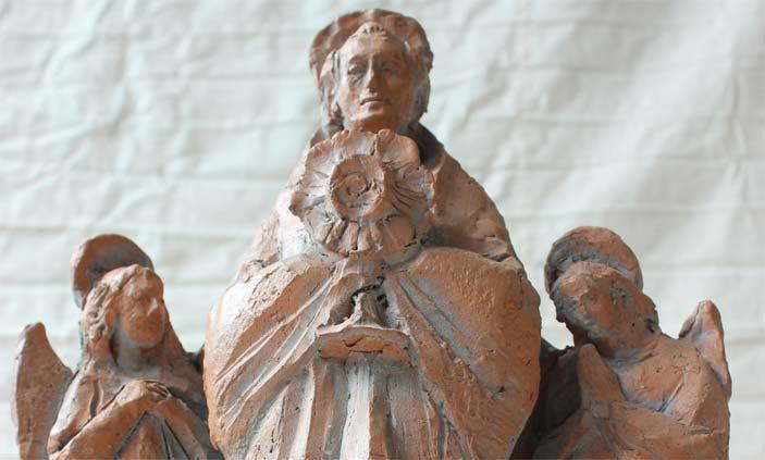 Don Marco Melzi, S. Giuliano Eymard, Particolare, Terracotta grezza, Bozzetto scultoreo, cm 48x30x15