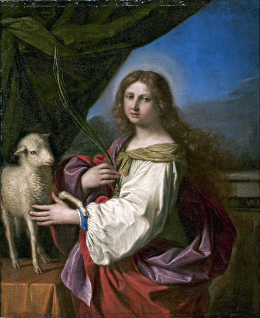 Giovanni Francesco Barbieri detto il Guercino, Sant'Agnese, 1652, olio su tela, 117×96 cm