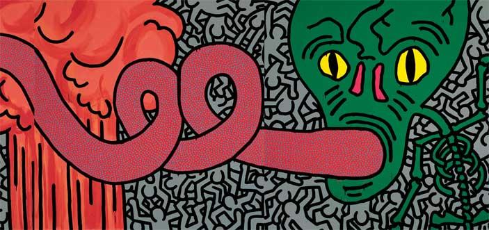 Keith Haring, Untitled, June 11 1984, acrilico su tela, 238,8 x 716,3 cm, Collezione privata © Keith Haring Foundation