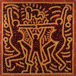 Keith Haring, Untitled, 1983 Inchiostro vinilico su telone di vinile 213,4 x 213,4 cm Courtesy Laurent Strouk © Keith Haring Foundation