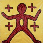 Keith Haring, Untitled, 1981 Inchiostro vinilico su telone di vinile 244 x 244 cm Salisburgo, Kunstmuseum, Collezione Neggy Diba © Keith Haring Foundation