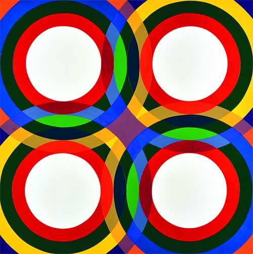Paolo Minoli, Programma 5 fase 6 AR, Compenetrazioni rotatorie e loro risultanze, 1972. Acrilico su tela, 160 x 160 cm