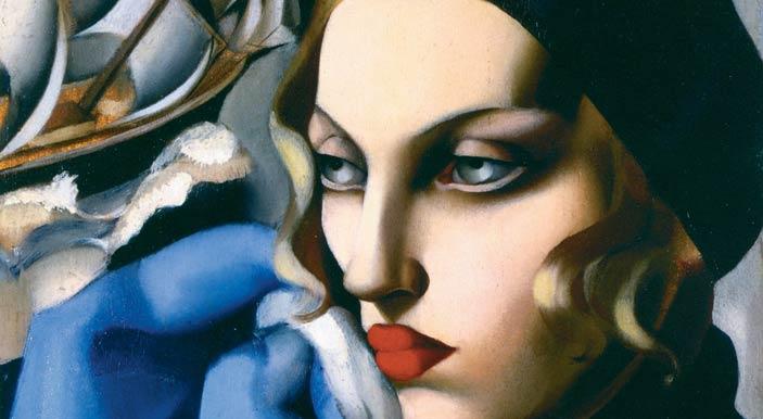 Forlì, Art Déco - Tamara de Lempicka: La sciarpa blu, 1930, particolare, olio su tavola, 56,5 x 48 cm, collezione privata