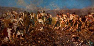 Arnaldo Ferraguti, Alla vanga, 1890, olio su tela, cm 280x650