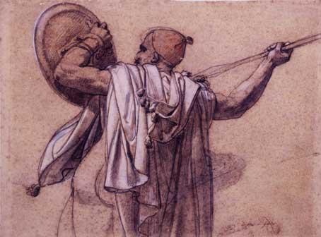 Anne-Louis Girodet de Roussy-Trioson, Arabo visto di spalle, rivolto a sinistra, mentre alza la sua lancia e il suo scudo, 31 x 41 cm, Parigi, collezione Prat, Diritti riservati