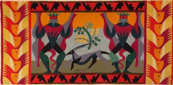 Fortunato Depero, Guerrieri, 1923, tarsia in panni