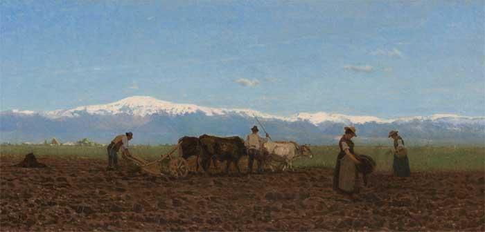 Guglielmo Ciardi, L'aratura, olio su tela, 44 x 95 cm - Mostra I maestri del colore. Arte a Venezia nell'800