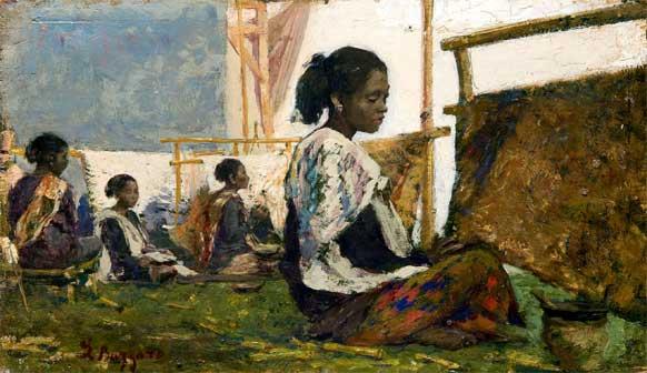 Leonardo Bazzaro, Morettine fabbricanti di tappeti - Mostra Orientalismo. In viaggio dall'Egitto a Costantinopoli