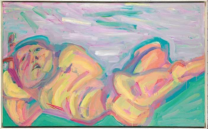 Maria Lassnig, Die Liegende, Donna distesa, 1982, olio su tela  81 × 132 cm, The Albertina Museum, Vienna. The Essl Collection