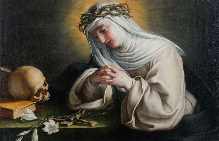 """Raffaello Vanni, Siena 1595-1673, Santa Caterina in preghiera davanti al crocifisso, 1644 circa, olio su tela, Roma, collezione Lemme - Mostra """"I Santi d'Italia"""""""