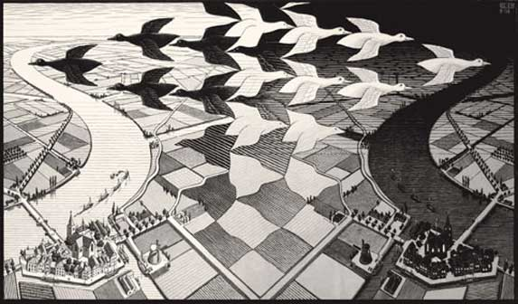 Maurits Cornelis Escher, Giorno e notte, Febbraio 1938, Xilografia, 39,1x67,7 cm, Collezione privata, Italia - All M.C. Escher works © 2016 The M.C. Escher Company. All rights reserved www.mcescher.com