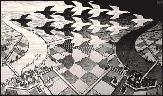 Maurits Cornelis Escher, Giorno e notte, Febbraio 1938, Xilografia, 39,1x67,7 cm, Collezione privata, Italia - All M.C. Escher works © 2016 The M.C. Escher Company. All rights reserved www.mcescher.com