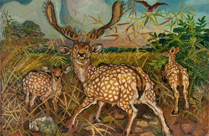 Antonio Ligabue, Daini con paesaggio, 1952, olio su tavola di faesite, 29,8x40 cm
