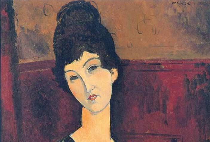 Amedeo Modigliani, La bella cioccolataia, 1916 - 1917, Olio su tela, 99 x 65 cm - Collezione privata