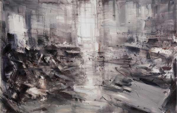 Alessandro Papetti, Interno 2016. Olio su tela, 100 x 150 cm