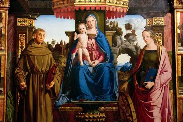 Marco Palmezzano, (Forlì 1459 circa - 1539), Madonna in trono tra i santi Francesco e Caterina d'Alessandria