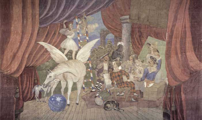 """Pablo Picasso, Sipario per il balletto """"Parade"""", 1917 tempera su tela, 1050x1640 cm Parigi, Centre Pompidou - Musée national d'art moderne - Centre de création industrielle"""