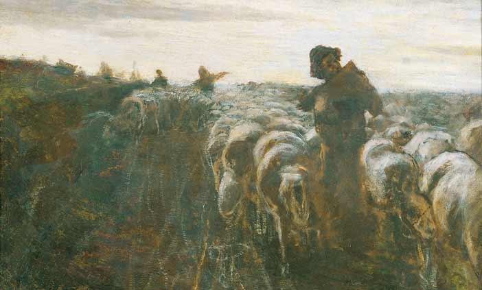 Giovanni Segantini: Il ritorno dal pascolo, particolare, Olio su tela. Collezione privata