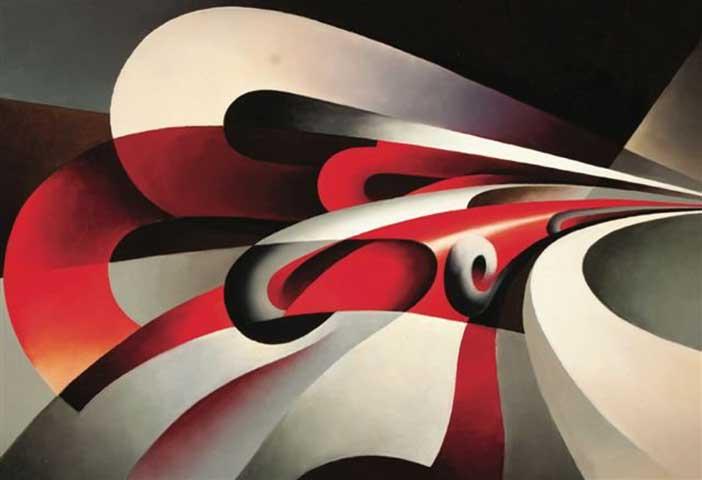 """Tullio Crali, Le forze della curva, 1930, olio su tela, 69x89 cm, collezione privata - Mostra """" Venti futuristi """""""