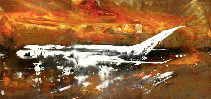 Alessandro Busci aereo_bianco_trittico, 2017 smalto su ferro enamel on iron 71x153 cm