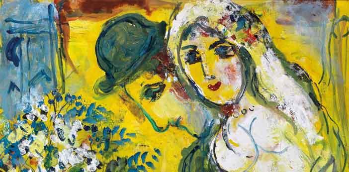 Marc Chagall, Les Amoureux sur fond jaune, particolare