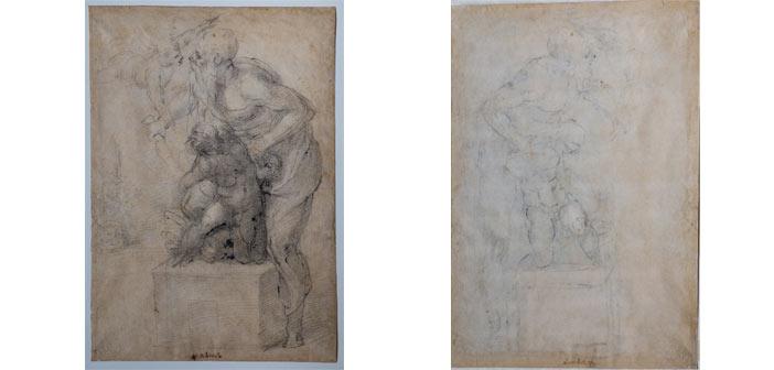 Michelangelo Buonarroti, Sacrificio di Isacco, 1530 circa, matita nera, matita rossa, penna (recto), matita nera (verso), mm 482 x 298 Firenze, Casa Buonarroti