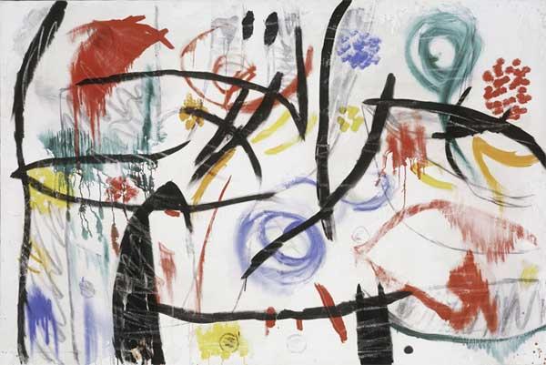 Joan Mirò, Untitled, 1968-72, Oil, acrylic, charcoal and chalk on canvas, 130,6x195,5 cm © Successió Mirò by SIAE 2017, Archive Fundació Pilar i Joan Mirò a Mallorca © Joan Ramón Bonet & David Bonet