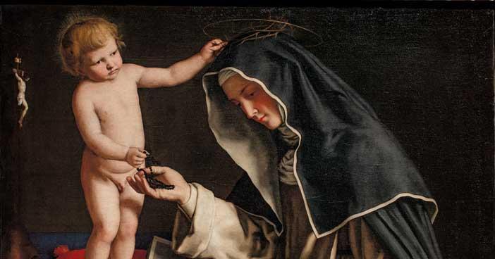 Giovan Battista Salvi detto il Sassoferrato, Santa Caterina da Siena con Gesù Bambino, particolare, Ro Ferrarese, Fondazione Cavallini Sgarbi