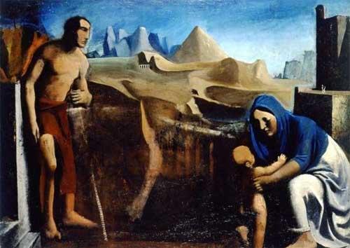 Mario Sironi, La famiglia/La famiglia del pastore, 1927, olio su tela - In mostra alla Galleria d'Arte Moderna di Roma