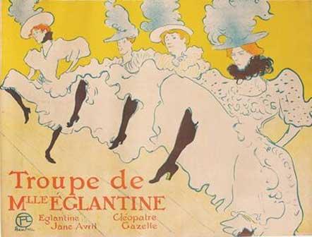 Henri de Toulouse-Lautrec, La Troupe de Mademoiselle Églantine, 1896, Color Lithography, 61,7x80,4 cm ©Herakleidon Museum, Athens Greece