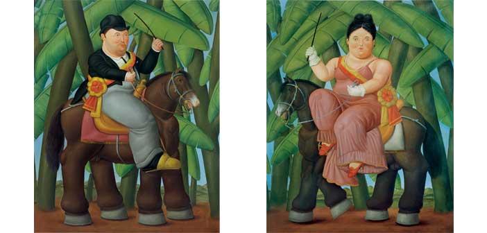 Fernando Botero, Il presidente, Lafirst lady (dittico), 1989, olio su tela.