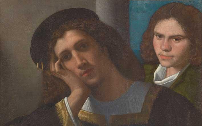 Giorgione, Due amici, 1502 c., Olio su tela, cm 77 x 66,5, particolare, Roma, Museo di Palazzo Venezia