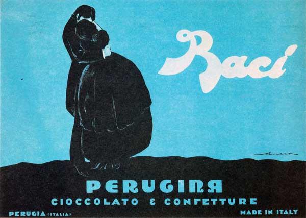 """Federico Seneca, manifesto pubblicitario, """"Baci Perugina"""", 1922, carta/cromolitografia, 100 x 140 cm. Museo Nazionale Collezione Salce, Treviso"""