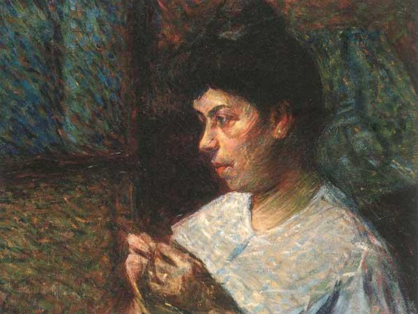 Umberto Boccioni, Donna che cuce, 1906 - Mostra alla Fondazione Matteucci di Viareggio