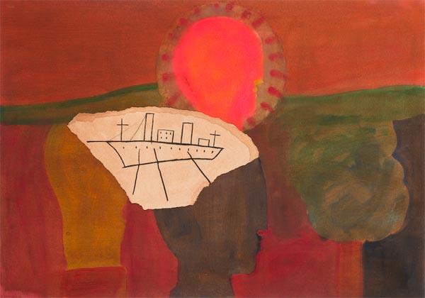 Mimmo Paladino, K488 Concerto, tecnica mista su carta, 2014, 72x103 cm